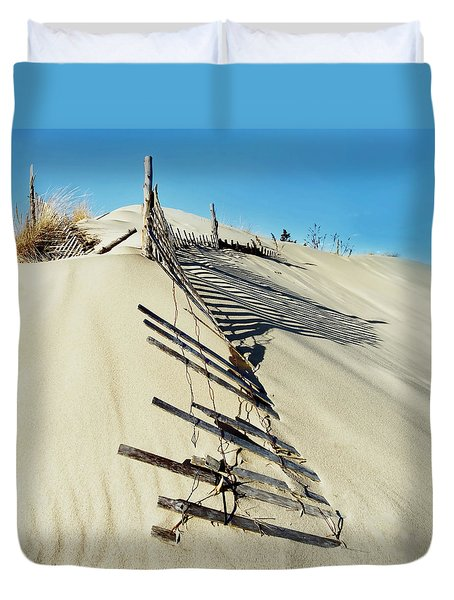 Sand Dune Fences And Shadows Duvet Cover
