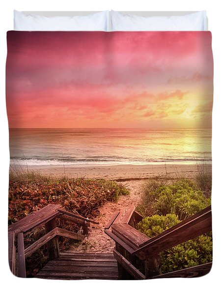 Duvet Cover featuring the photograph Sand Dune Morning by Debra and Dave Vanderlaan