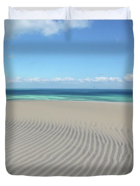 Sand Dune Ripples And The Ocean Beyond Duvet Cover