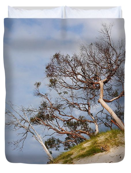 Sand Dune With Bent Trees Duvet Cover