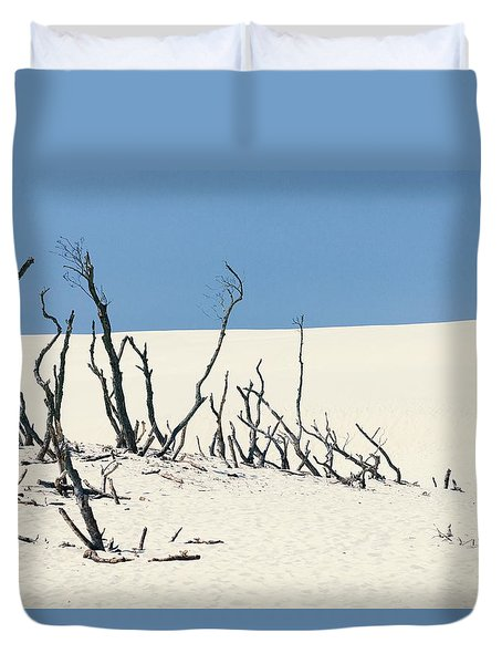 Duvet Cover featuring the photograph Sand Dune With Dead Trees by Chevy Fleet