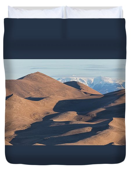Sand Dunes And Rocky Mountains Panorama Duvet Cover by James BO Insogna