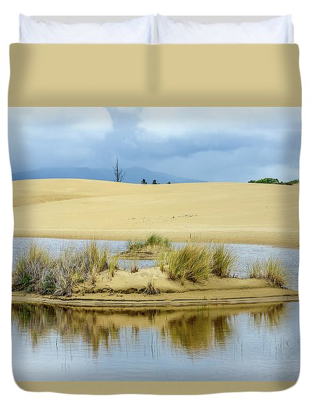 Sand Dunes And Water Duvet Cover by Jerry Cahill