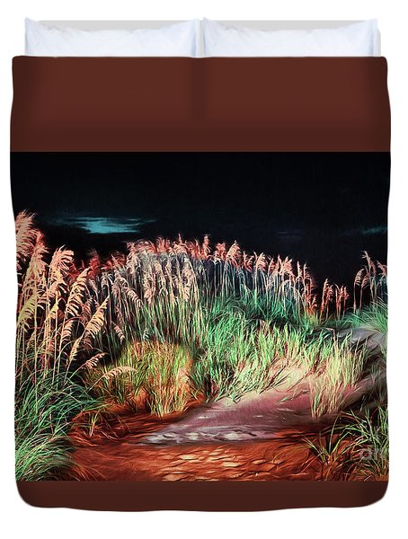 Sand Dunes At Night On The Outer Banks Ap Duvet Cover by Dan Carmichael