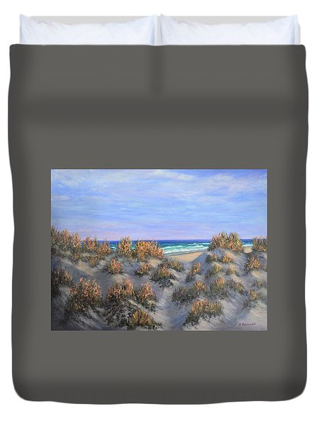 Sand Dunes Sea Grass Beach Painting Duvet Cover