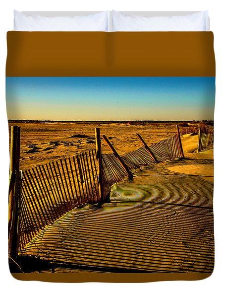 Sand Fences At Lands End II Duvet Cover