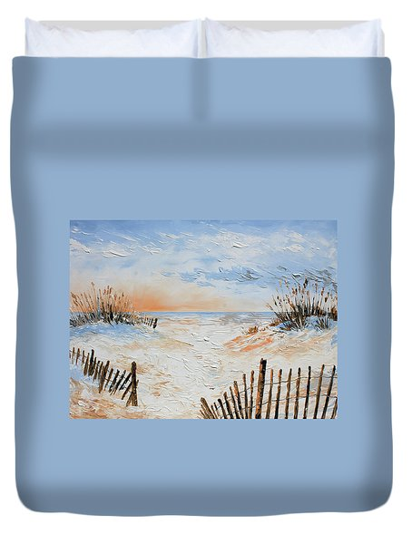 Duvet Cover featuring the painting Sand Fences by William Love
