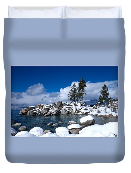 Sand Harbor In Winter Duvet Cover by Vinnie Oakes