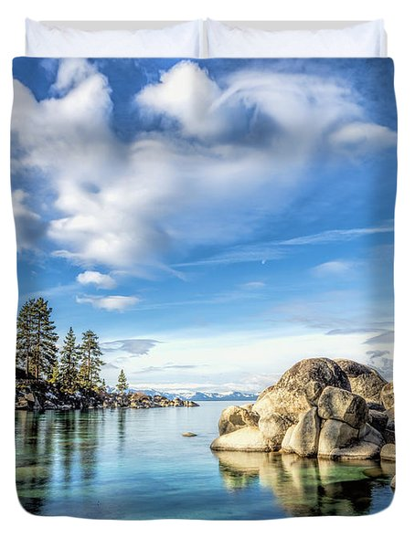 Sand Harbor Morning Duvet Cover