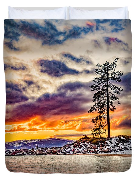 Duvet Cover featuring the photograph Sand Harbor Sunset by Janis Knight