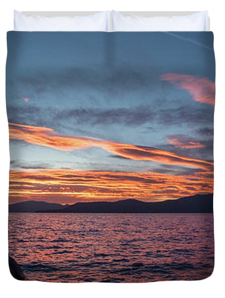 Sand Harbor Sunset Pano2 Duvet Cover