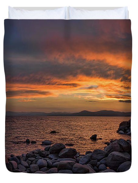 Sand Harbor Sunset Panorama Duvet Cover