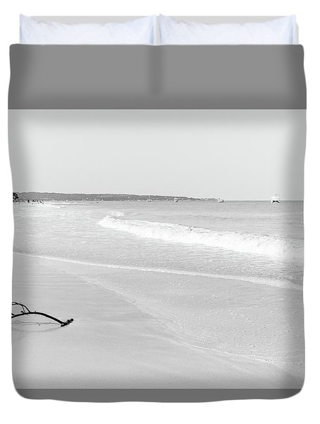 Sand Meets The Sea In Black And White Duvet Cover