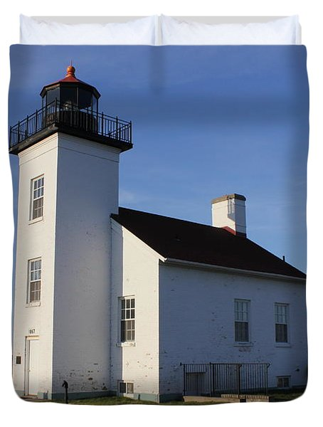 Sand Point Lighthouse In Escanaba Duvet Cover
