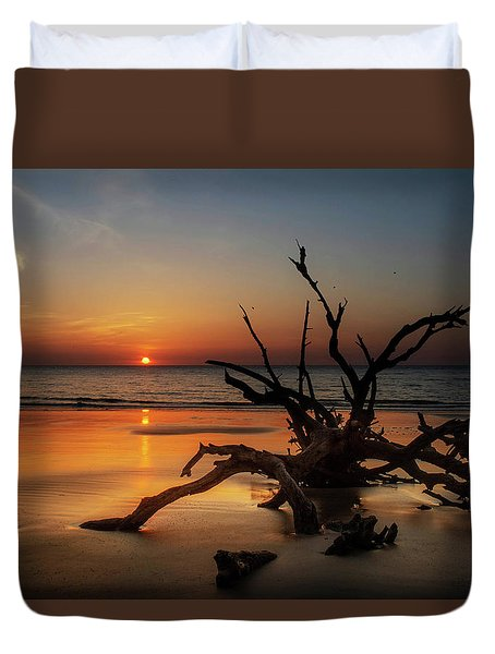 Sand Surf And Driftwood Duvet Cover