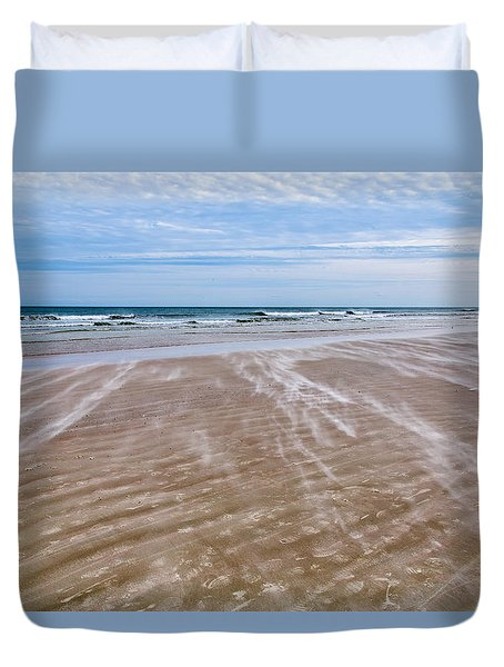 Duvet Cover featuring the photograph Sand Swirls On The Beach by John M Bailey