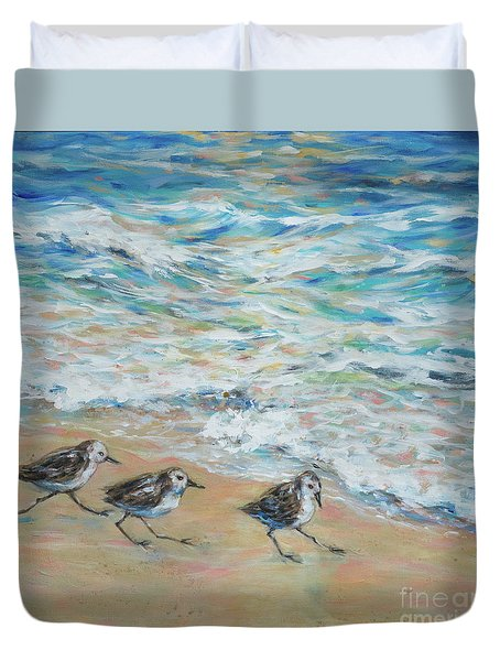 Sanderlings Running Duvet Cover