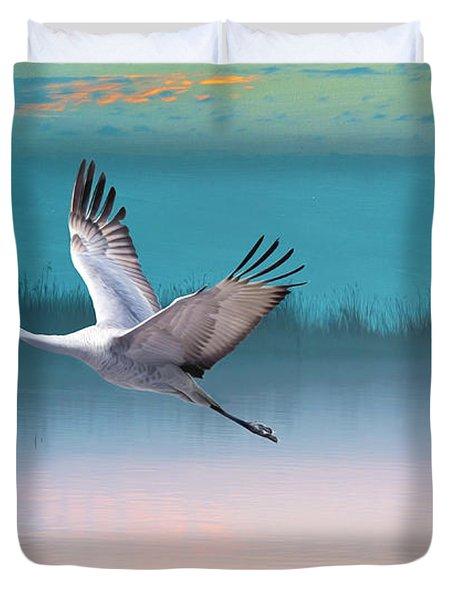 Sandhill Crane And Misty Marshes Duvet Cover