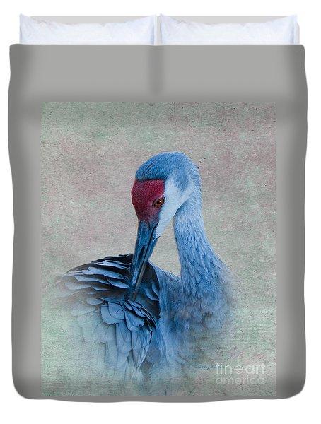 Sandhill Crane Duvet Cover by Betty LaRue
