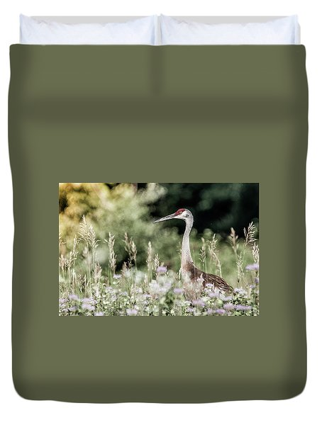 Sandhill Crane Duvet Cover by Cathy Cooley