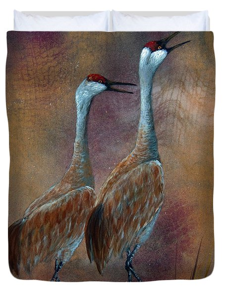 Sandhill Crane Duet Duvet Cover by Dee Carpenter