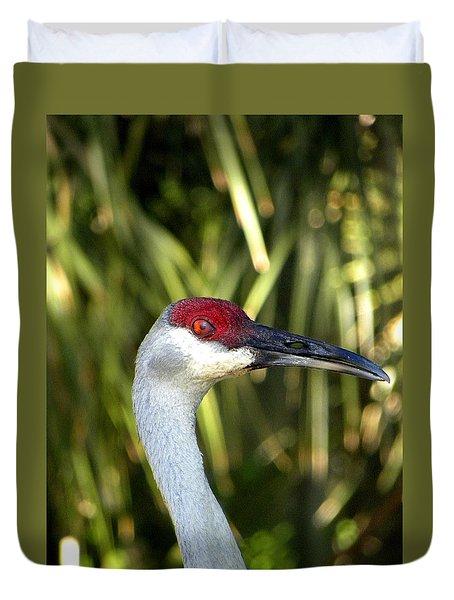 Sandhill Crane Head  Duvet Cover by Chris Mercer