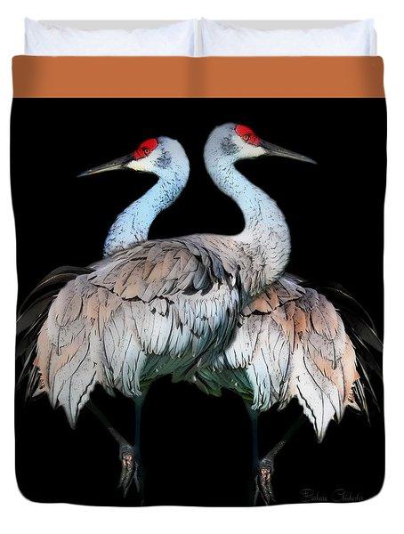 Sandhill Crane Mirror Image Duvet Cover