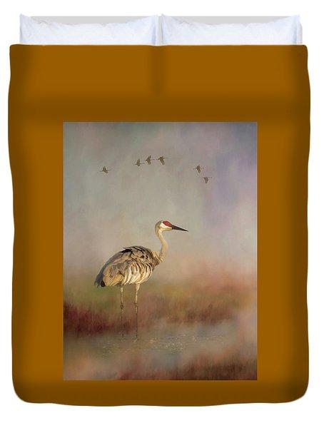Sandhill Crane - Painterly Vertical Duvet Cover