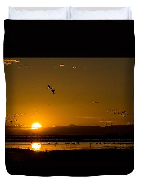 Sandhill Crane Sunrise Duvet Cover