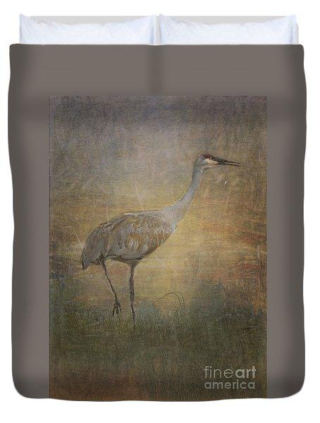 Sandhill Crane Watercolor Duvet Cover by Janice Rae Pariza