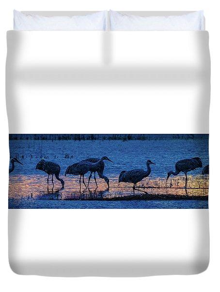 Sandhill Cranes At Twilight Duvet Cover