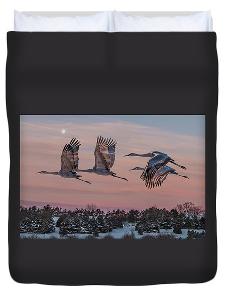 Sandhill Cranes In Flight Duvet Cover by Patti Deters