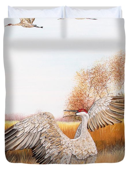 Sandhill Cranes-jp3161 Duvet Cover