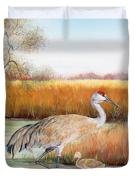 Sandhill Cranes-jp3162 Duvet Cover