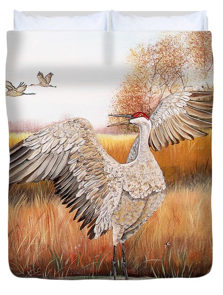 Sandhill Cranes-jp3163 Duvet Cover
