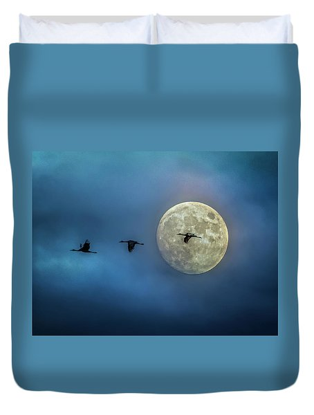 Duvet Cover featuring the photograph Sandhill Cranes With Full Moon by Patti Deters