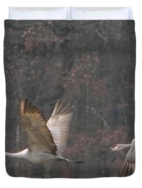 Duvet Cover featuring the photograph Sandhills In Flight by Shari Jardina