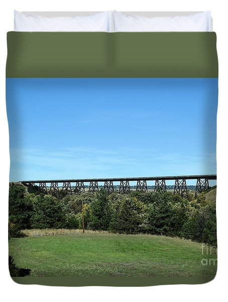 Duvet Cover featuring the photograph Sandhills Railroad Bridge  by Mark McReynolds