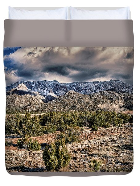 Duvet Cover featuring the photograph Sandia Mountain Landscape by Alan Toepfer