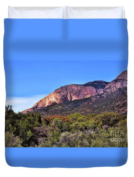 Duvet Cover featuring the photograph Sandia Sunset by Gina Savage