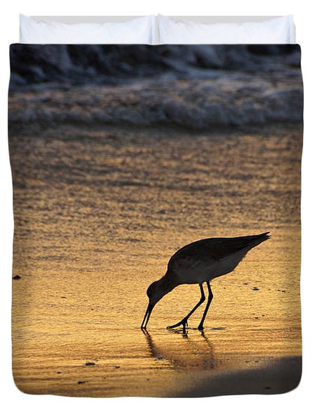 Sandpiper In Evening Duvet Cover