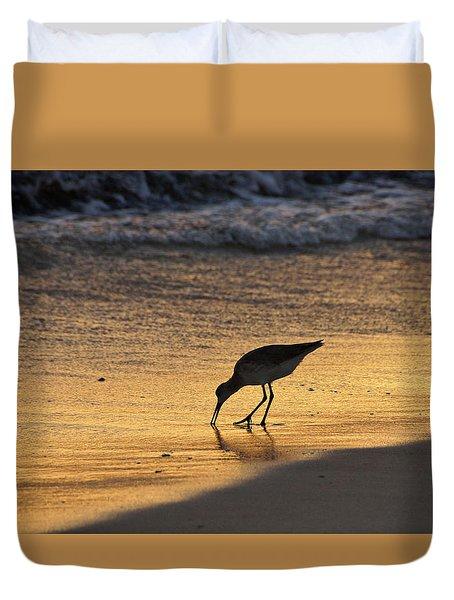 Sandpiper In Evening Duvet Cover