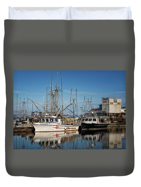 Duvet Cover featuring the photograph Sandra M And Lasqueti Dawn by Randy Hall