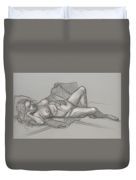 Duvet Cover featuring the drawing Sandra Sleepimg by Donelli  DiMaria