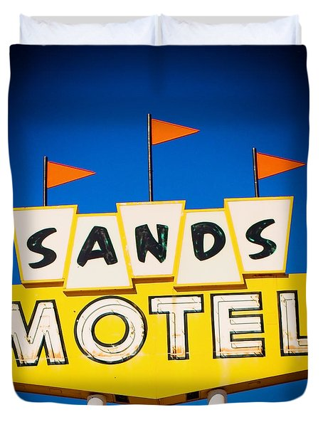 Sands Motel Vintage Neon Sign Duvet Cover