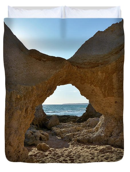 Sandstone Arch In Gale Beach. Algarve Duvet Cover