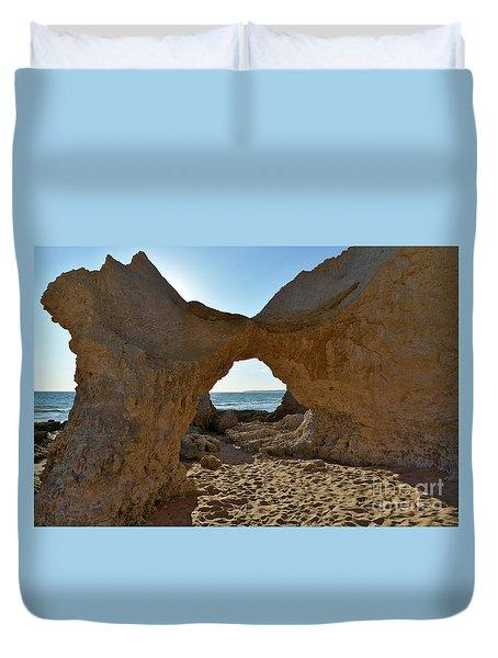 Sandstone Arch In Gale Beach. Algarve Duvet Cover