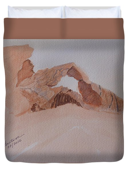 Duvet Cover featuring the painting Sandstone Arch - Valley Of Fire  by Joel Deutsch