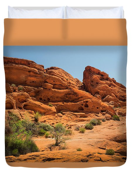 Sandstone Caves Valley Of Fire Duvet Cover by Frank Wilson