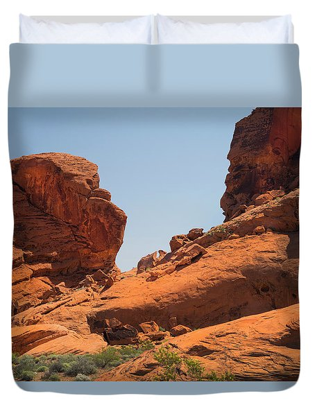 Sandstone Cliffs Valley Of Fire Duvet Cover by Frank Wilson